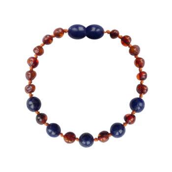 Amberos Barnsteen armband baby/peuter cognac - lapis lazuli