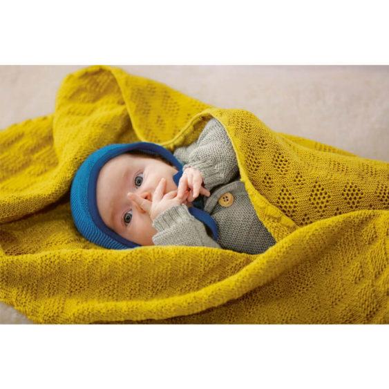 Baby deken wol gebreid naturel