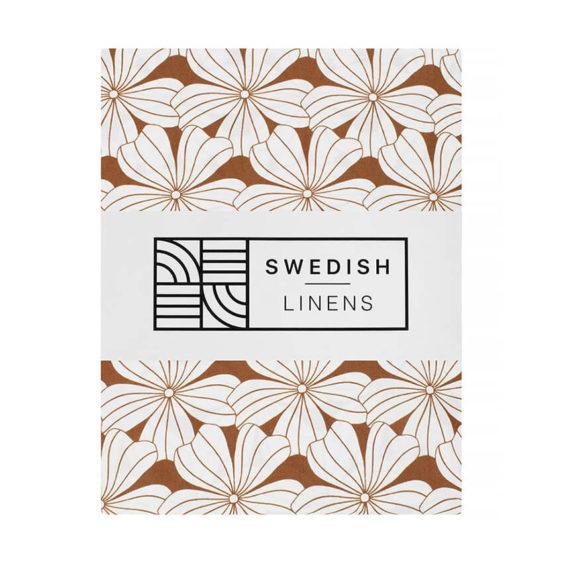 Swedish Linens Hoeslaken Flowers Cinnamon brown