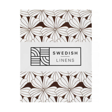 Swedish Linens Hoeslaken Flowers Dark chocolate