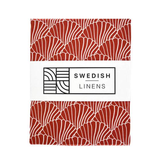 Swedish Linens Hoeslaken Seashells Burgundy