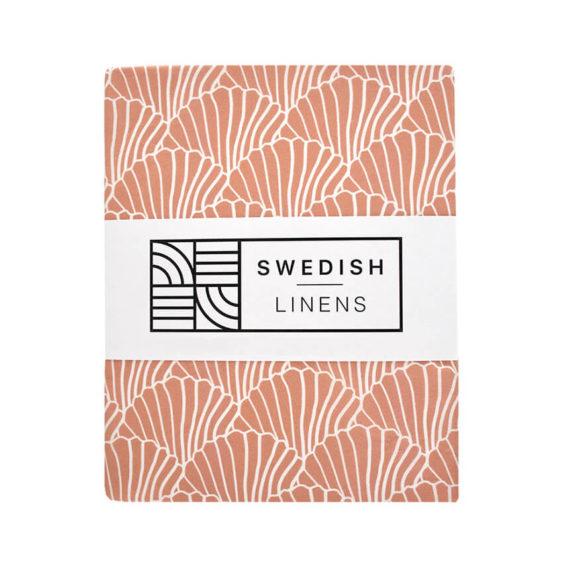 Swedish Linens Hoeslaken Seashells Terracotta pink