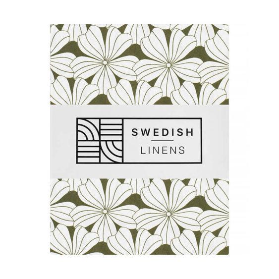 Swedish Linens Hoeslaken Flowers Olive green