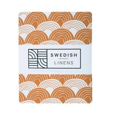 Swedish Linens Hoeslaken Rainbows Cinnamon brown
