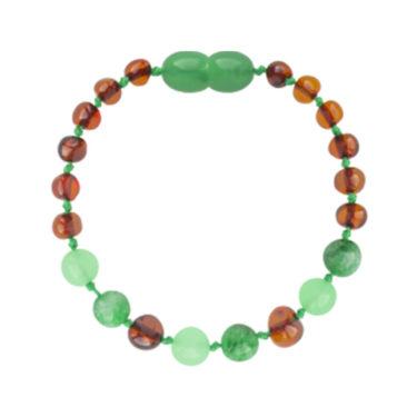 Amberos Barnsteen armband kind cognac - green jade
