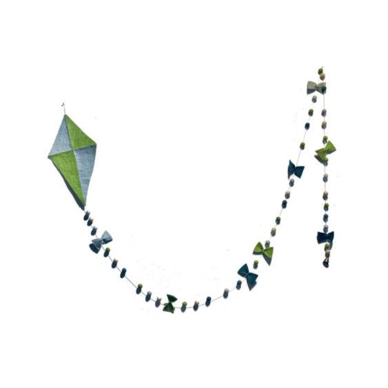 Vlieger groen blauw wolvilt